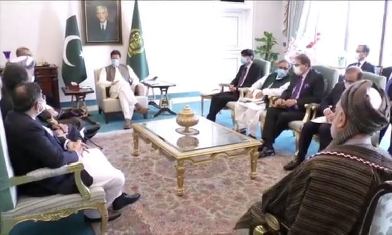 """Prime Minister Imran Khan assures Pakistan's """"steadfast support for efforts seeking peace and stability"""" in Afghanistan. — Photo via Twitter"""
