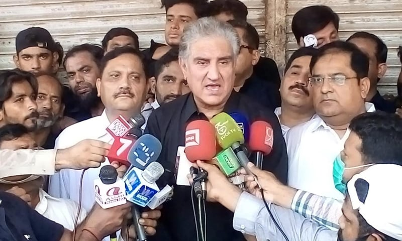 Foreign Minister Shah Mahmood Qureshi speaks to the media in Multan on Wednesday. — Photo courtesy PID  website