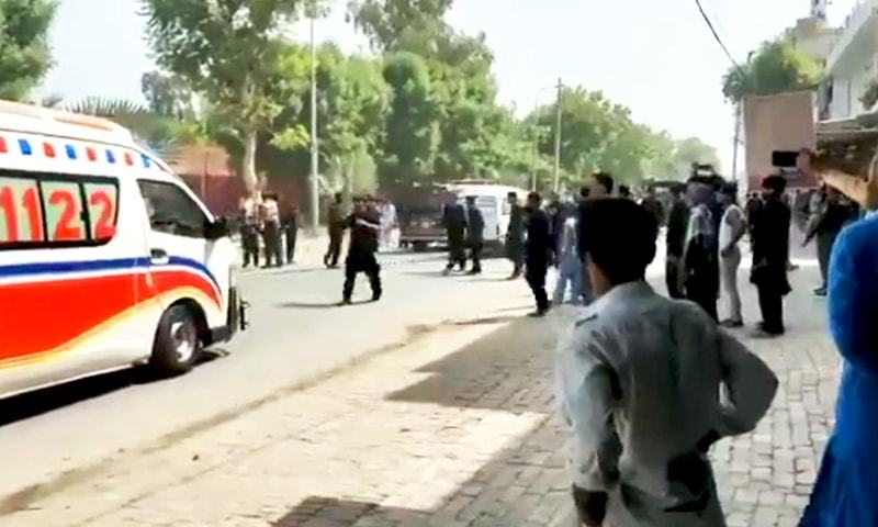 A Rescue 1122 ambulance rushes to the site of the explosion in Bahawalnagar. - DawnNewsTV screengrab