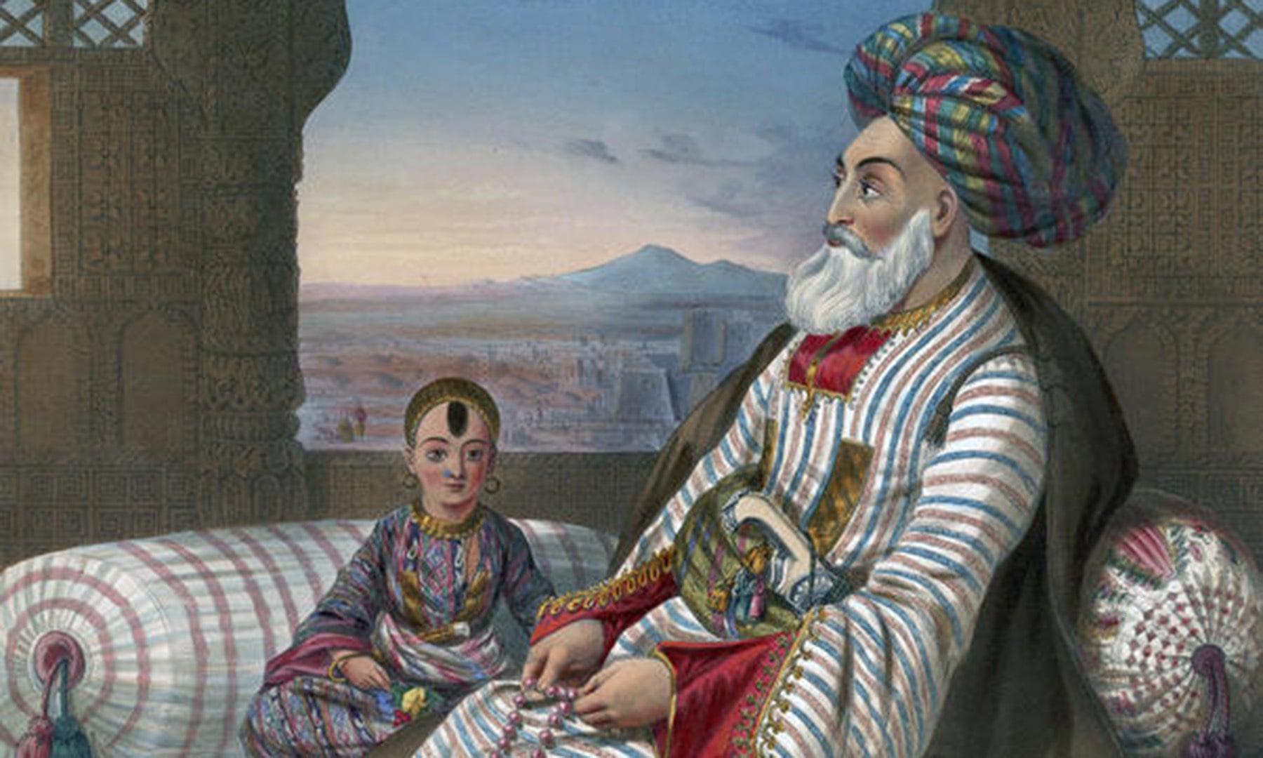 دوست محمد خان اپنے سب سے چھوٹے بیٹے کے ہمراہ—برٹش لائبریری