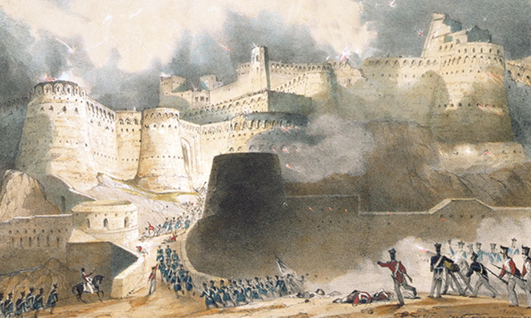 غزنی قلعے پر حملے کا ایک منظر