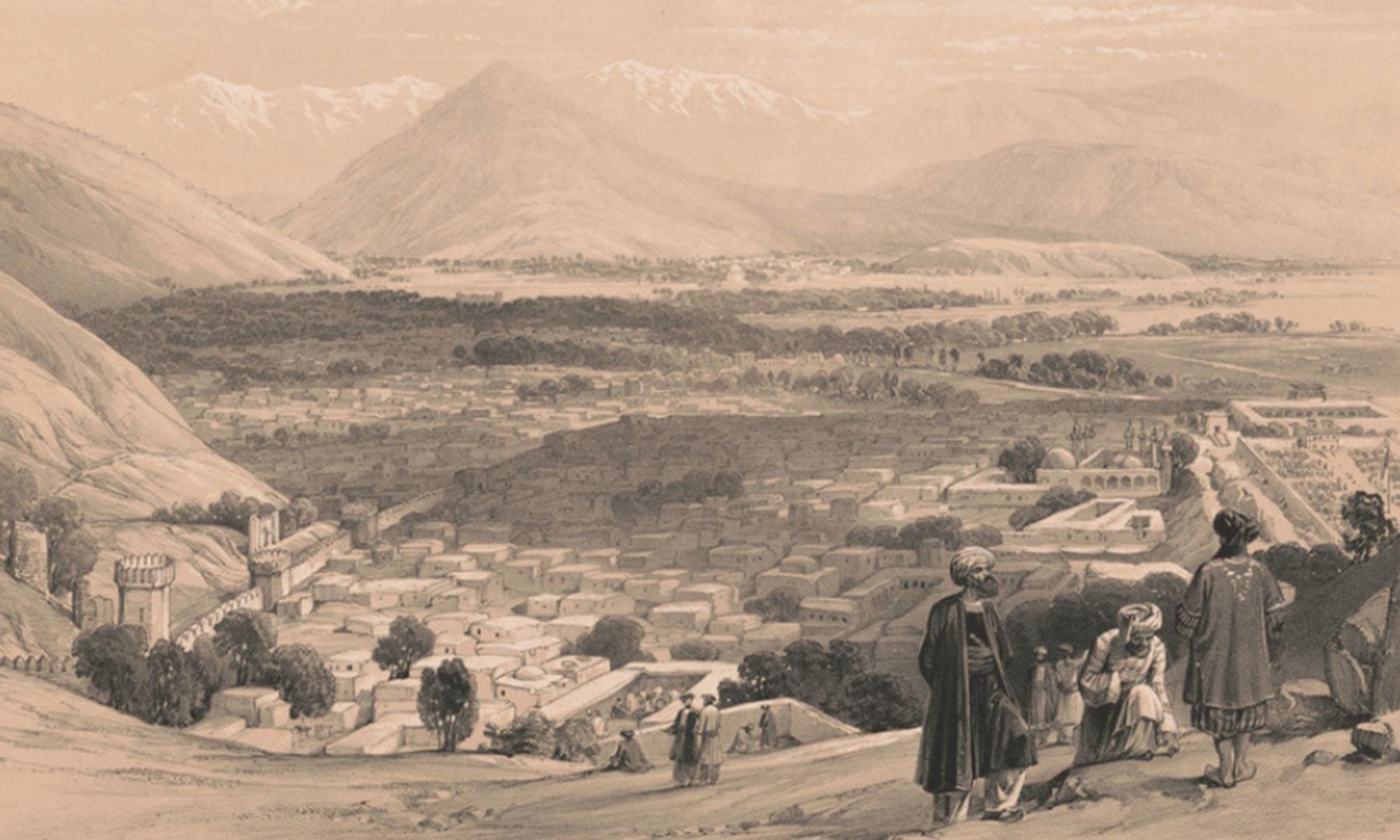 بالا حصار سے کابل شہر کا نظارہ—برٹش لائبریری