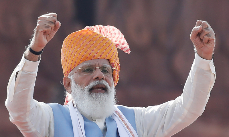 Indian Prime Minister Narendra Modi addresses the nation to mark India's independence Day on Aug 15. — Reuters/File