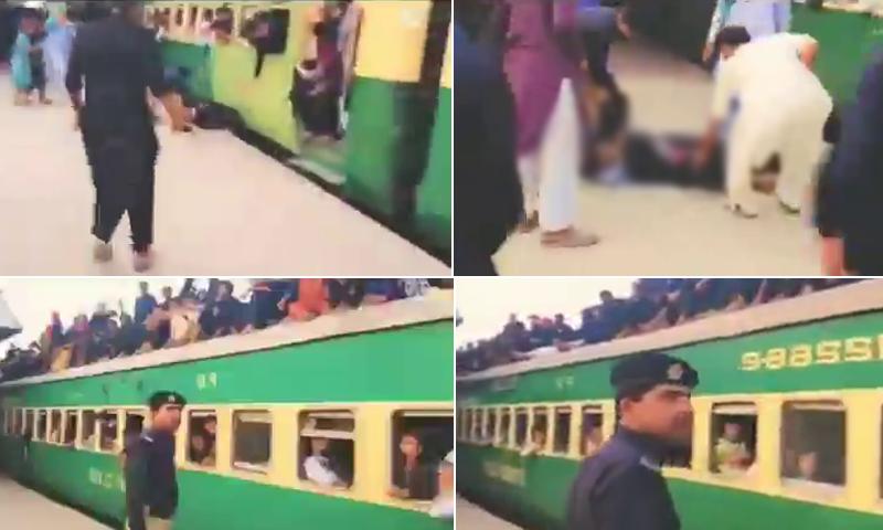 ویڈیو میں ٹرین کی چھت پر سوار نوجوان کو ٹریک پر گرتے اور کانسٹیبل کو ان کی جان بچاتے دیکھا جاسکتا ہے—فوٹو: ڈان نیوز