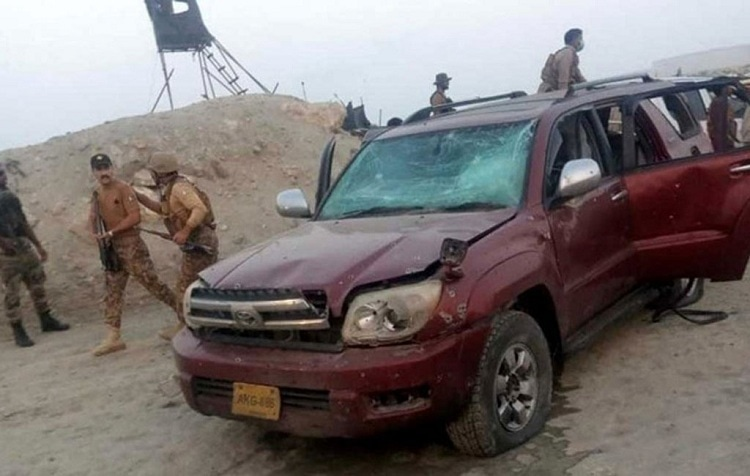 A damaged vehicle is seen at the blast site in Gwadar on Aug. 20, 2021. — Photo courtesy: Xinhua