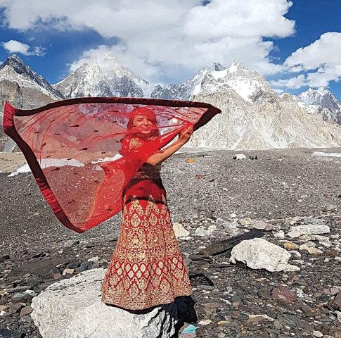 Naila Kiani in front of K2 in 2018 | Instagram