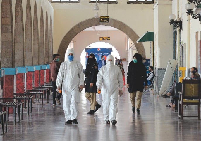 Health workers conduct temperature checks at the Rawalpindi Railway Station | Mohammad Asim/White Star