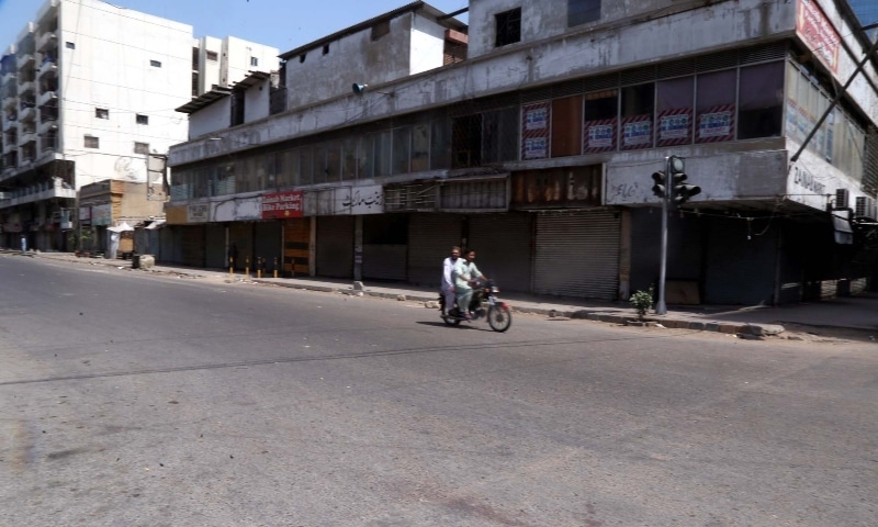 Businesses in Karachi remained closed on Sunday due to the lockdown imposed by the provincial government. — APP