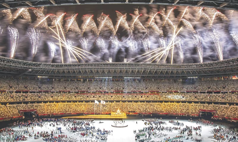 FIREWORKS explode during the opening ceremony for the Tokyo Paralympic Games at the Olympic Stadium on Tuesday.—AFP