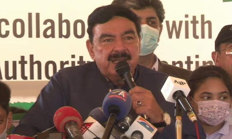 Interior Minister Sheikh Rashid addresses the media in Islamabad on Wednesday. — DawnNewsTV
