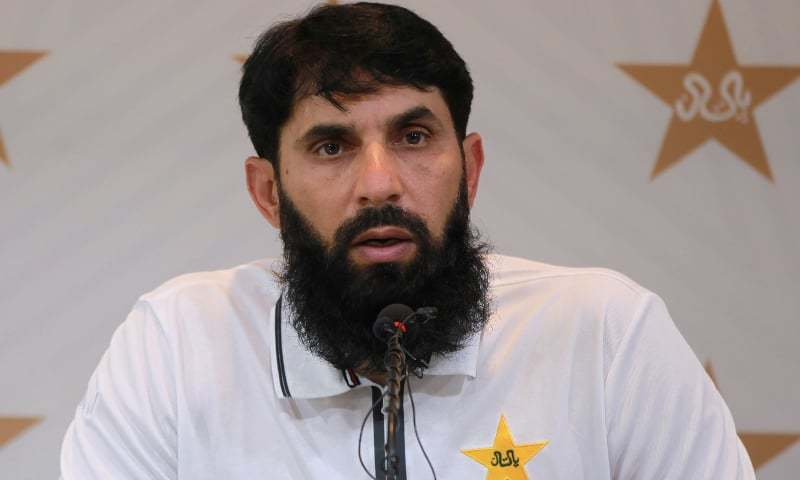 Pakistan cricket team head coach Misbahul Haq addresses a press conference in this file photo. — AFP