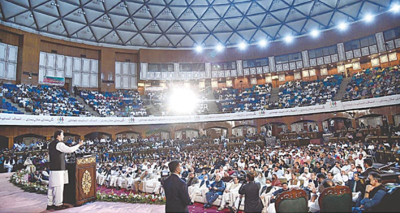 ISLAMABAD: Prime Minister Imran Khan speaks at an event organised on Thursday to mark completion of three years of the PTI government.—APP