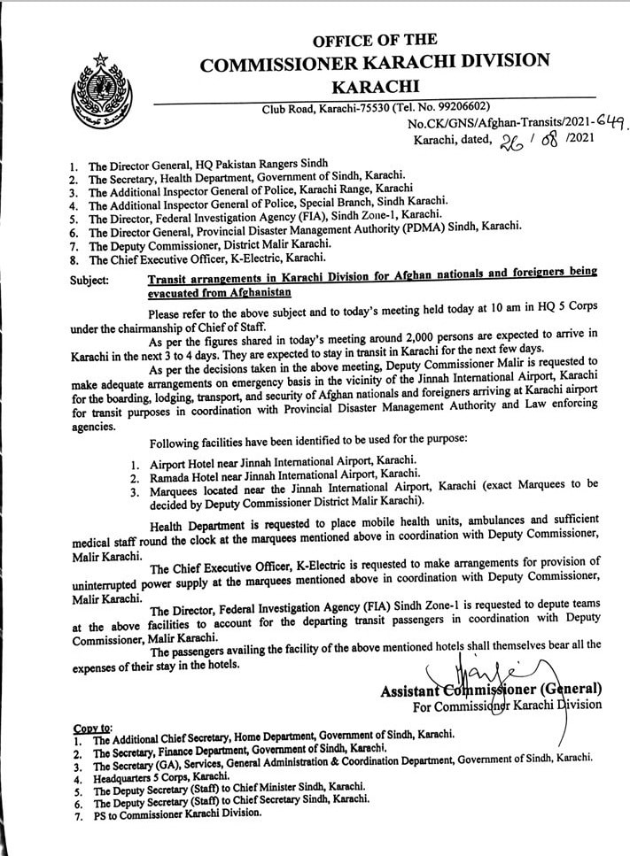 A copy of the notification issued by the Karachi commissioner's office.