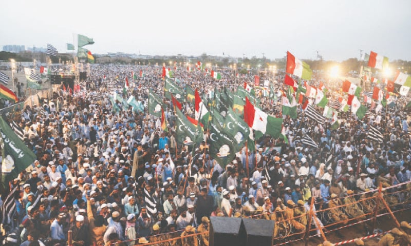 KARACHI: The Pakistan Democratic Movement, an opposition alliance, holds a power show at Bagh-i-Jinnah on Sunday.—Shakil Adil / White Star