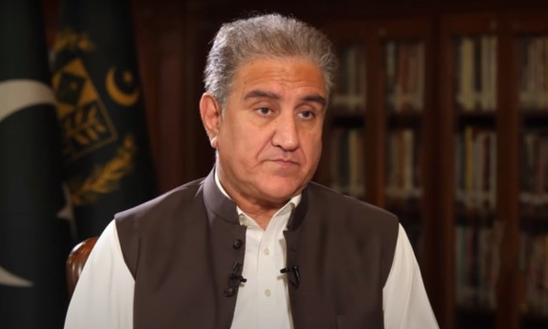 This file photo shows Foreign Minister Shah Mahmood Qureshi in an interview with Tolo News. — DawnNewsTV/File