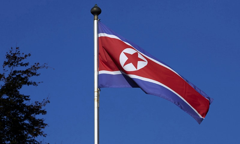 This file photo shows North Korea's flag hoisted on a pole. — Reuters/File