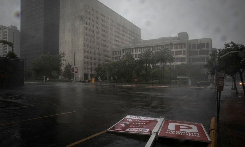 A parking sign lies in the street as Hurricane Ida makes landfall in Louisiana, in New Orleans, Louisiana, US on August 29. — Reuters