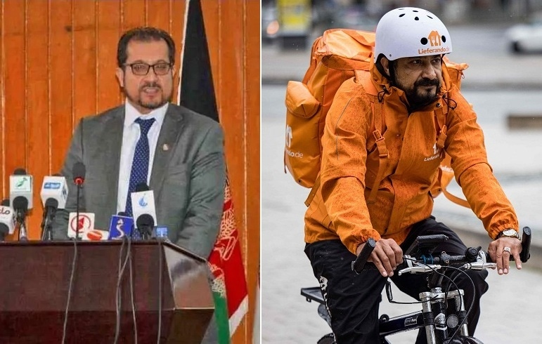 In this combination of photos, former Afghan minister Sayed Sadaat is seen addressing a media briefing (L) when he was in power and now delivering food as a bicycle courier in Germany (R). — Photo courtesy: Al Jazeera/AFP