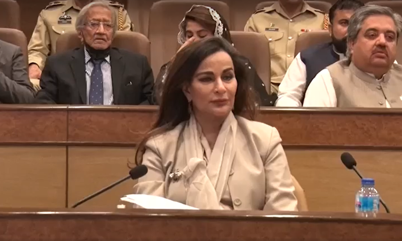 PPP Senator Sherry Rehman (C) and other parliamentarians receive a briefing at the GHQ on Monday. — Screengrab via ISPR video
