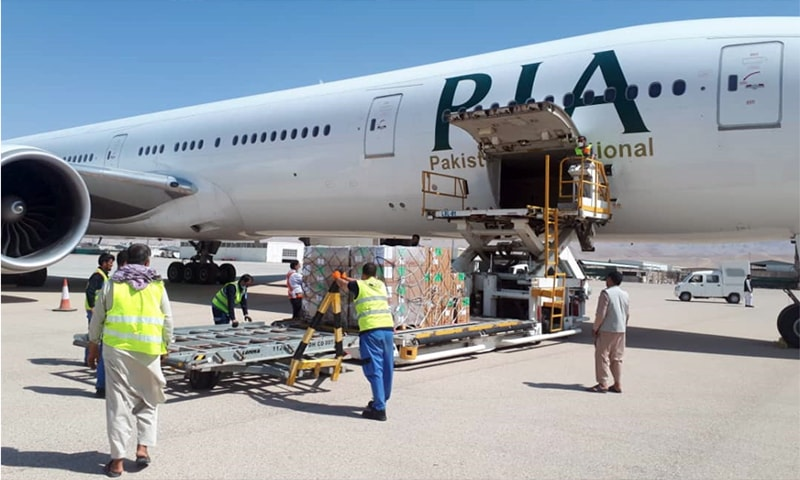 The PIA plane flew from Dubai to the northern Afghan city of Mazar-i-Sharif carrying 12.5 tonnes of supplies. — Photo: PIA Twitter