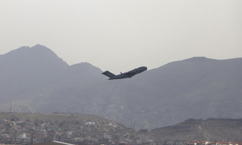 A US military aircraft takes off from the Hamid Karzai International Airport in Kabul, Afghanistan on Monday, August 30, 2021. — AP