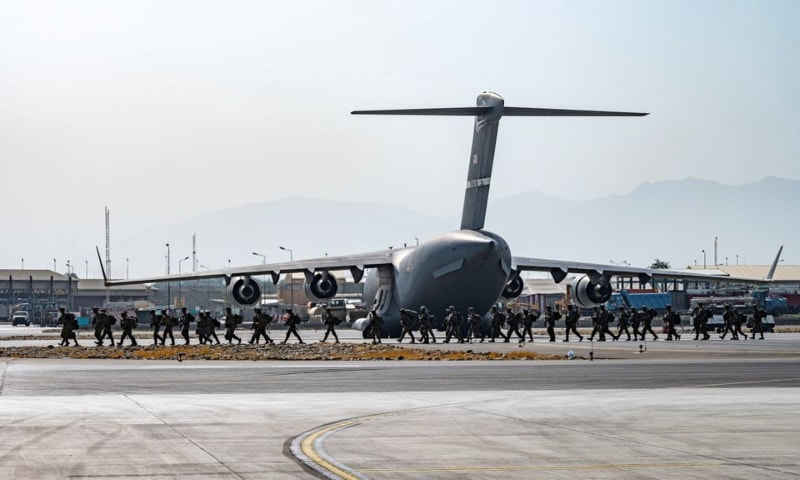 US soldiers, assigned to the 82nd Airborne Division, arrive to provide security in support of Operation Allies Refuge at Hamid Karzai International Airport in Kabul, Afghanistan on August 20. — Reuters