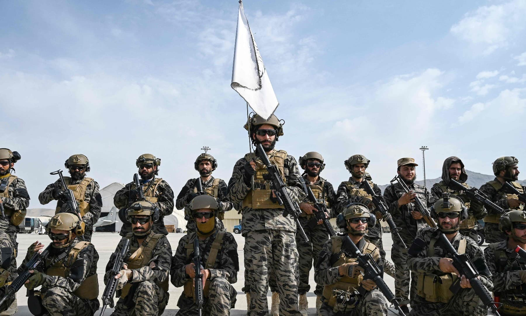Taliban Badri special force fighters take a position at the airport in Kabul on August 31. — AFP