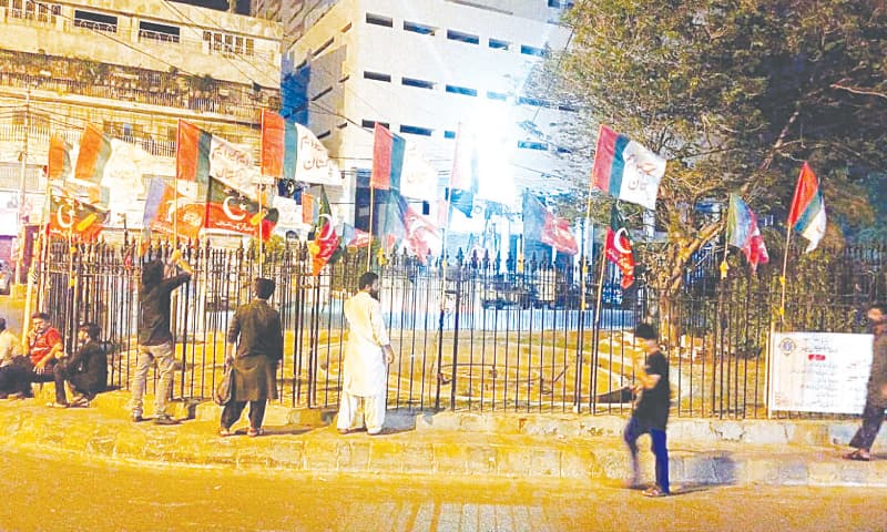 Political parties have planted their flags in the Burnes Road area on Tuesday in connection with upcoming cantonment board polls.—PPI