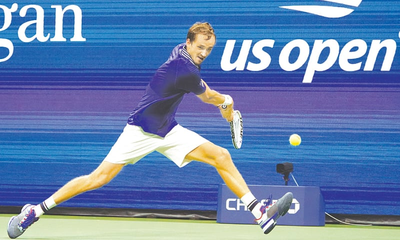 NEW YORK: Daniil Medvedev of Russia goes for a return against France's Richard Gasquet during their first-round match at the US Open.—AP