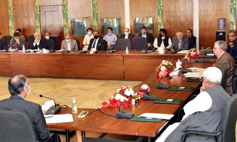 Finance Minister Shaukat Tarin presides over an Economic Coordination Committee meeting on Tuesday. — Photo courtesy Radio Pakistan website