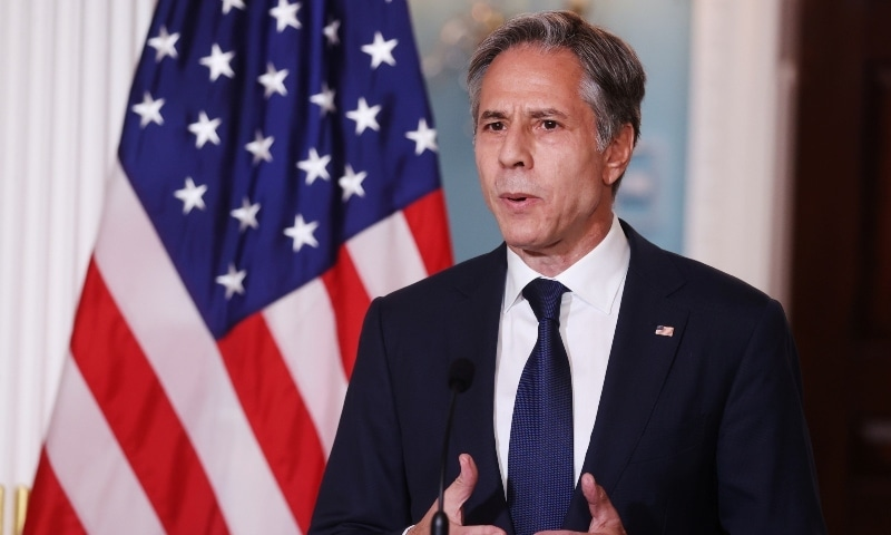 US Secretary of State Antony Blinken delivers remarks following talks on the situation in Afghanistan, at the State Department in Washington on August 30. — Reuters