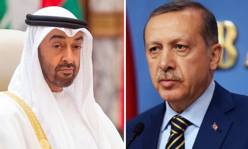 This combo photo shows Abu Dhabi Crown Prince Mohammed bin Zayed Al Nahyan and Turkish President Tayyip Erdogan. — Photos AFP/Reuters