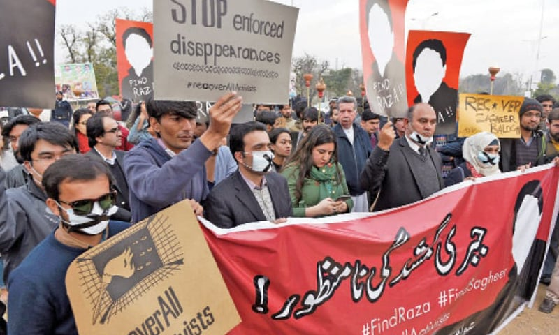 Activists of the Awami Jamhoori Ittehad protest against enforced disappearances outside National Press Club, Islamabad in this file photo. — White Star/File