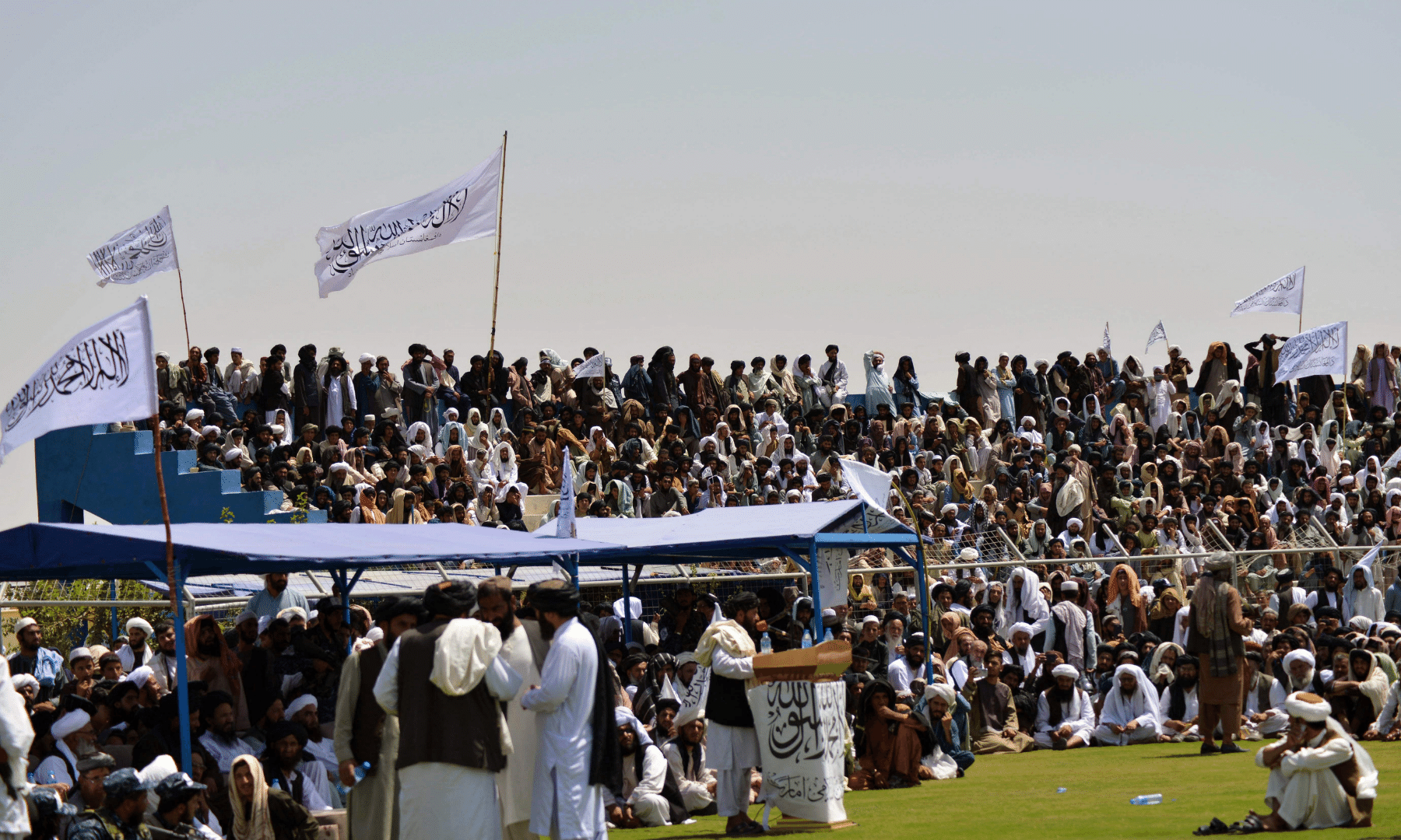 Taliban supporters gather to celebrate the US withdrawal of all its troops out of Afghanistan, in Kandahar, following the Taliban's military takeover of the country.