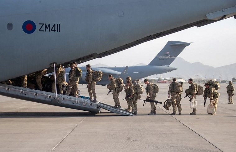 UK military personnel board an A400M aircraft departing Kabul, Afghanistan on August 28, 2021.  — Reuters/File