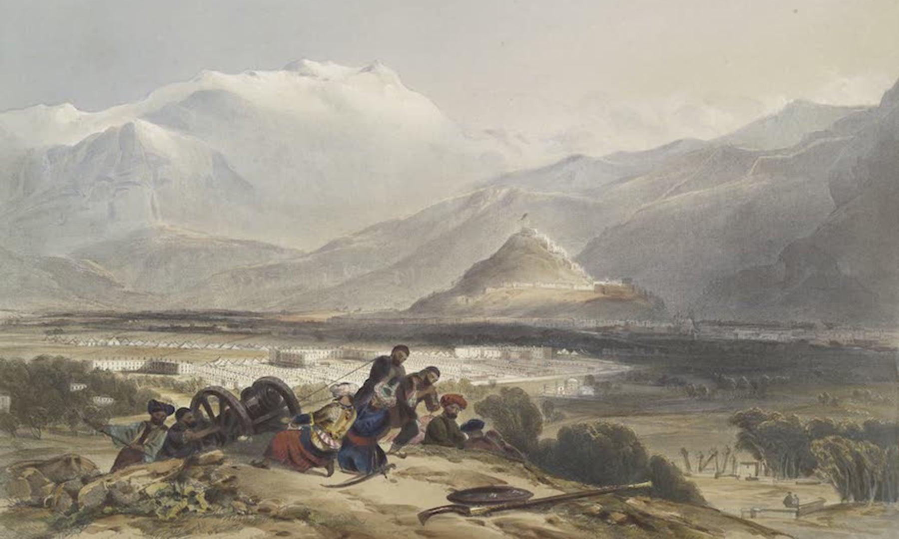 بلندی سے قلعہ بالا حصار، شہر کابل اور برطانوی چھاؤنی کا منظر