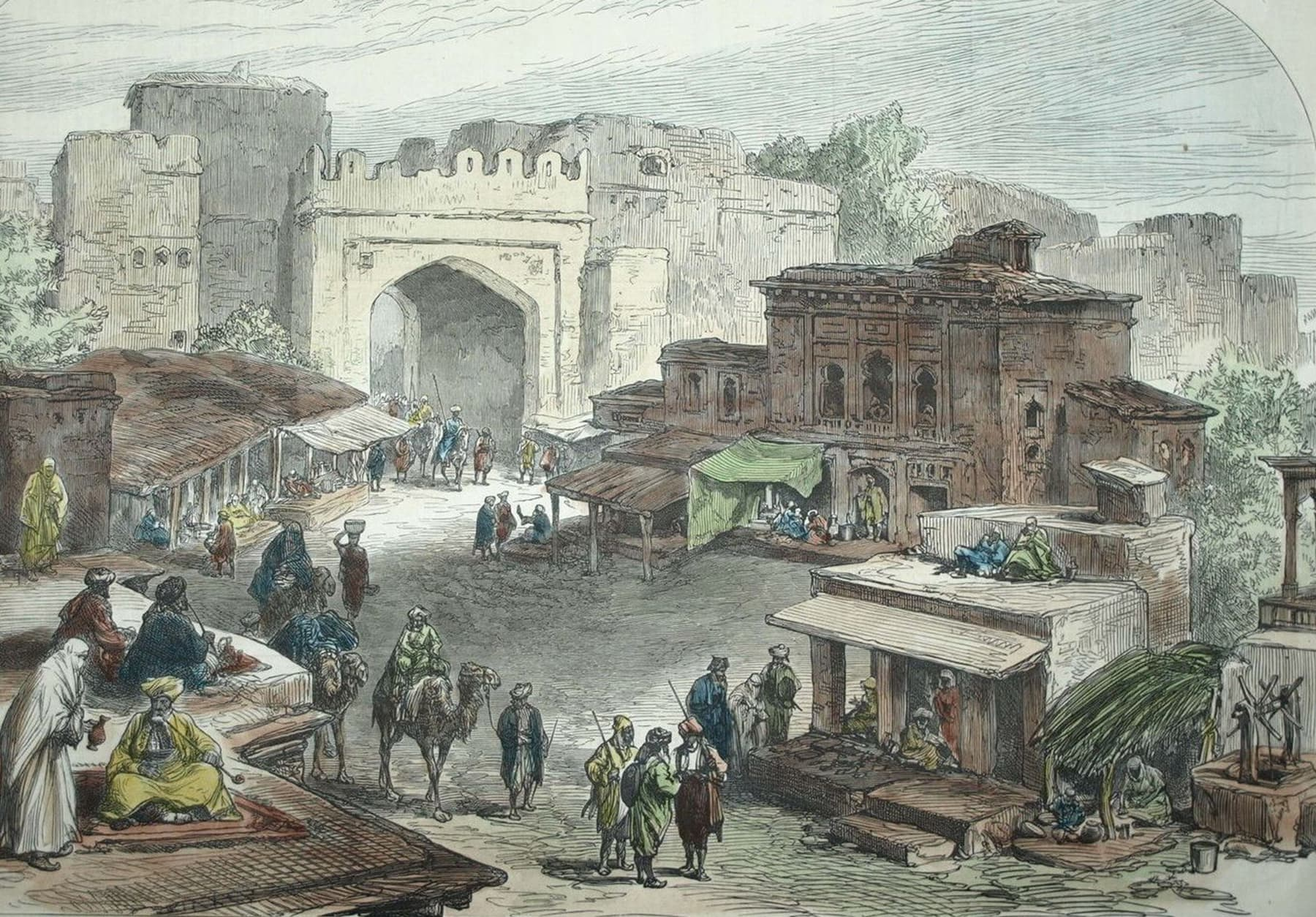 کابل بازار کی عکاسی کرتا ایک خاکہ