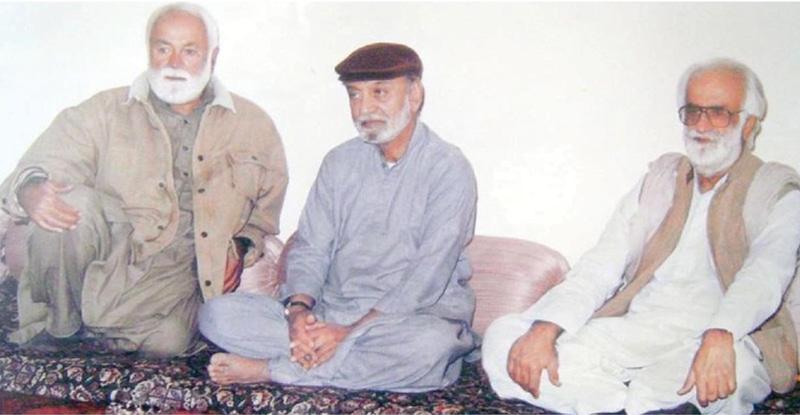 SARDAR Ataullah Mengal, Nawab Akbar Khan Bugti and Nawab Khair Bakhsh Marri during a meeting at Bugti House, Quetta, in the 70s.—Dawn