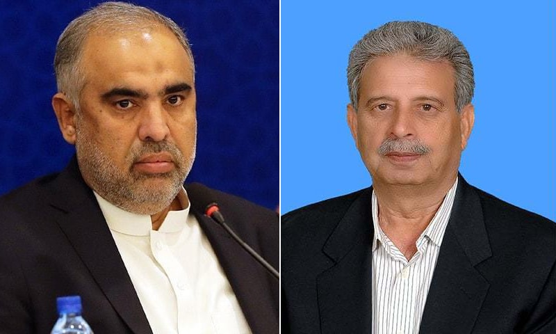 A combination photo of National Assembly Speaker Asad Qaiser (L) and Public Accounts Committee chairperson Rana Tanveer Hussain (L). — Photo courtesy GOP Twitter/ NA website