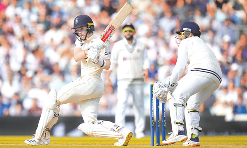 LONDON: England batsman Ollie Pope plays a shot during the fourth Test against India at The Oval on Friday. —AP