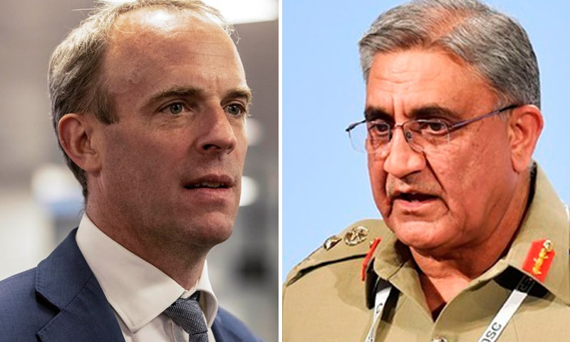 A combination photo of Britain's Foreign Secretary Dominic Raab (L) and Chief of Army Staff Gen Qamar Javed Bajwa (R). — Reuters/AFP