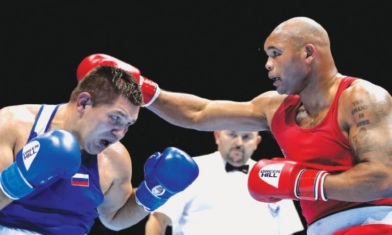 COMPETITORS spar during a bout of the 2019 World Boxing Championships in Ekaterinburg, Russia. Green Hill was the official supplier for the event.