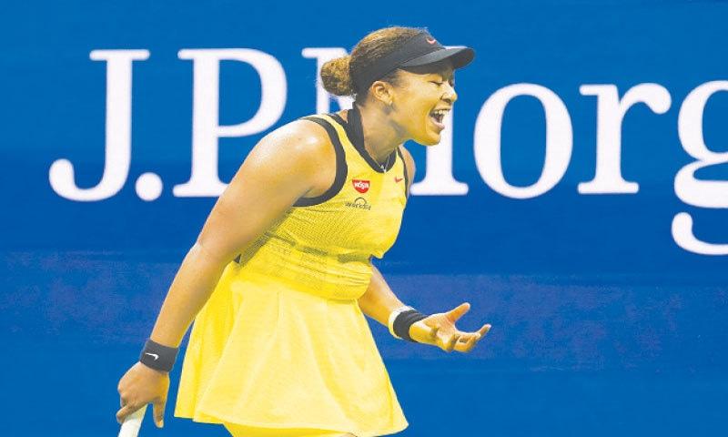 NAOMI Osaka reacts during her third-round defeat to Leylah Fernandez.—AP
