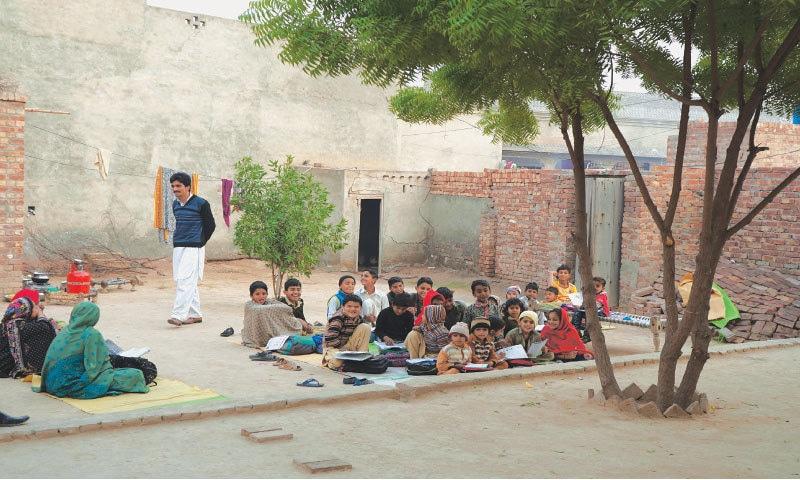An open-air school in a remote village in Toba Tek Singh, Punjab
