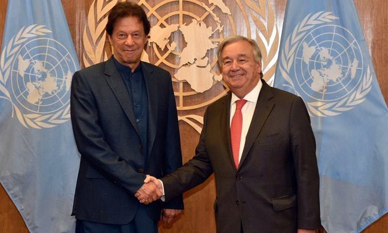 In this file photo, Prime Minister Imran Khan meets UN Secretary General Antonio Guterres in New York. — Photo courtesy PM Office