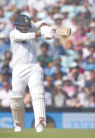 INDIAN batsman Shardul Thakur pulls during the fourth Test at the Oval on Sunday.—AP