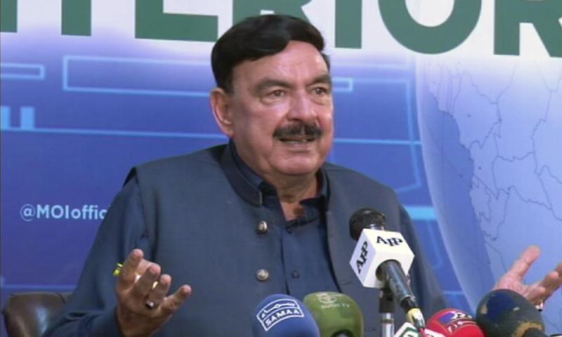 Interior Minister Sheikh Rashid Ahmed addresses a press briefing in Islamabad on Monday. — DawnNewsTV