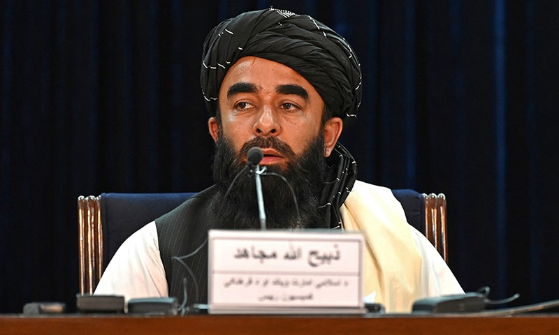ذبیح اللہ مجاہد نے کابل میں پریس کانفرنس کی—فوٹو: اے ایف پی
