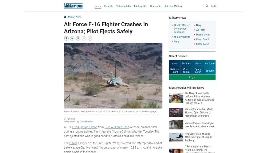 Screenshot of the news article in which the fighter jet's picture was used.