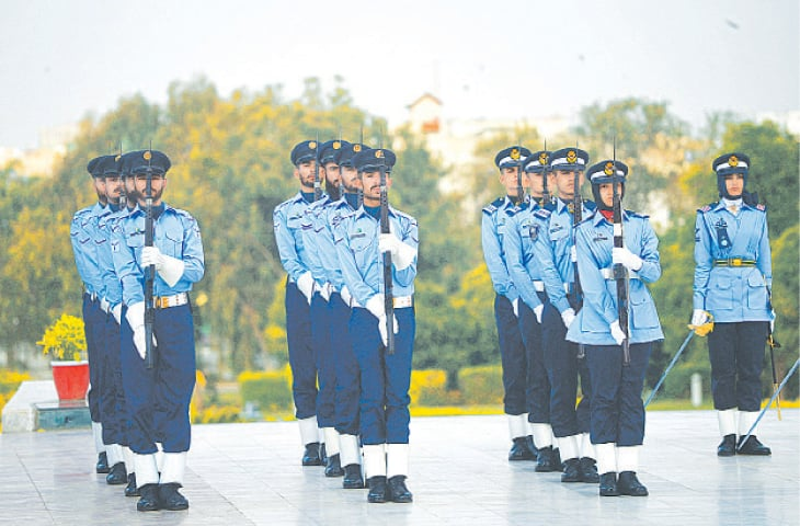 KARACHI: Pakistan Air Force cadets in action during a ceremony held in connection with the Defence and Martyrs Day at the Quaid-i-Azam's mausoleum on Monday.—AFP